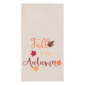Fall Into Autumn Embroidered Flour Sack Kitchen Towel - Matarow