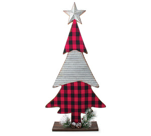 Red Black Check and Corrugated Tin Tree - Matarow