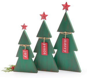 Rustic Green Christmas Trees with Tags