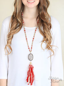 Candace's Country Lace Red Tassel Necklace with Crystal Oval Accent - Matarow