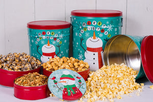 Panhandle Popcorn 2 Gallon Cheery Snowman - 3 way Popcorn - Matarow