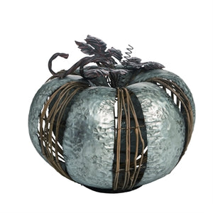 Large Metal Natural Material Accent Pumpkin - Matarow