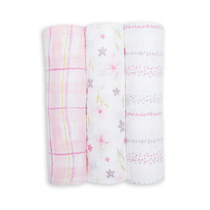 Cotton Muslin Swaddling Blankets 3 pack