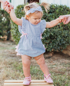 Blue Seersucker Ruffle Romper - Matarow