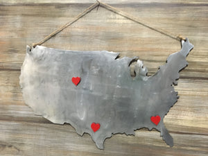 USA cut out with magnetic hearts - Matarow
