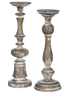 Oversized Vintage Farmhouse Pillar Candle Holder Set