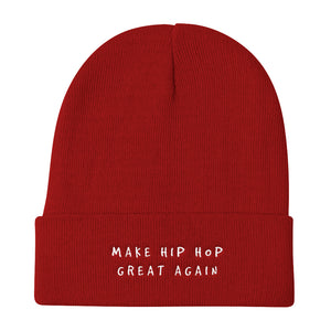 MAKE HIP HOP GREAT AGAIN Knit Beanie : WHITE Embroidery . ShopTLMBrand.com