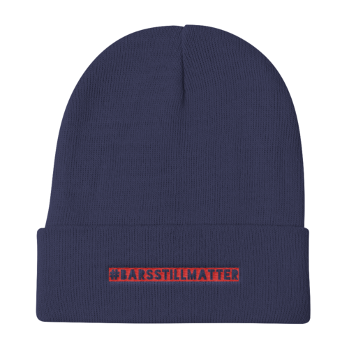 #BARSSTILLMATTER Knit Beanie : RED Embroidery . ShopTLMBrand.com