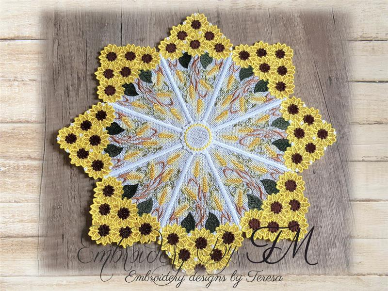 Large doily sunflower / 5x7 hoop