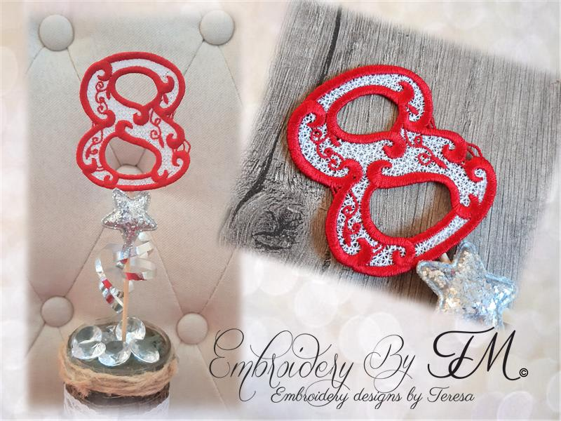 Christmas heart Red truck / two sizes /combination felt and lace