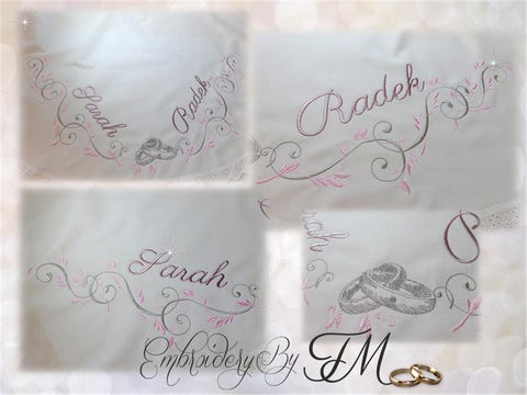 Wedding embroidery designs/6 variants and different size hoops ( Of course, the design doesn't contain names.)