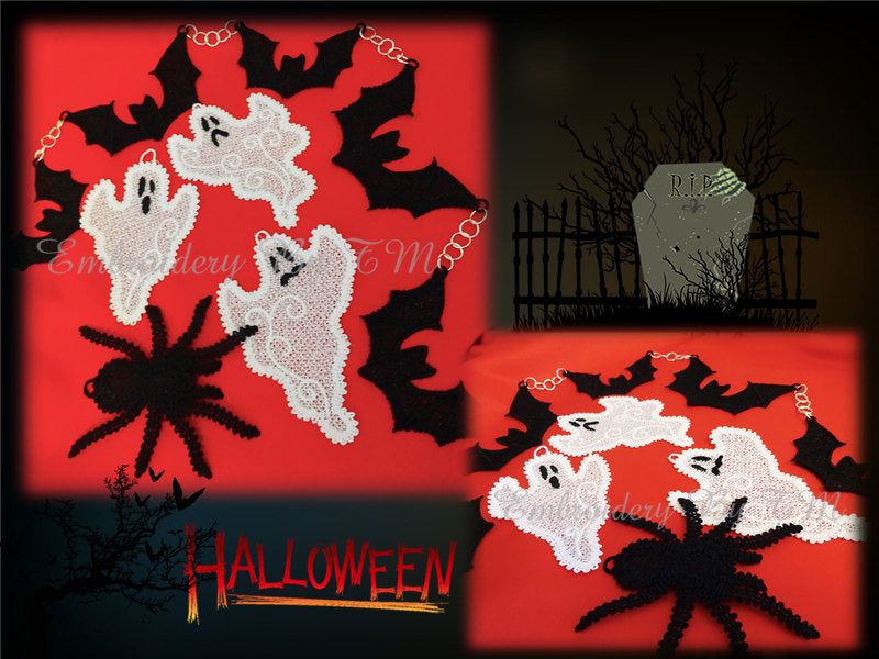 Halloween set  (ghost-three sizes/Bat in two sizes/spider two sizes)-FSL-4x4 hoop