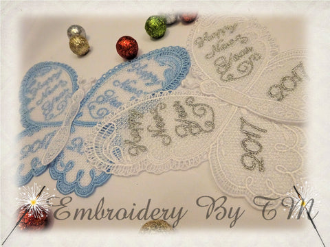 Big butterfly and small butterfly - Happy New Year - two variants of embroidery, two size. 5x7 hoop
