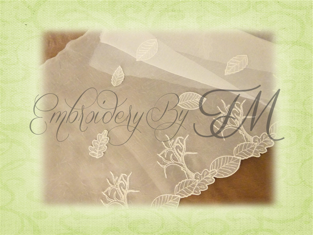Organza embroidery / Design Tree and leaves