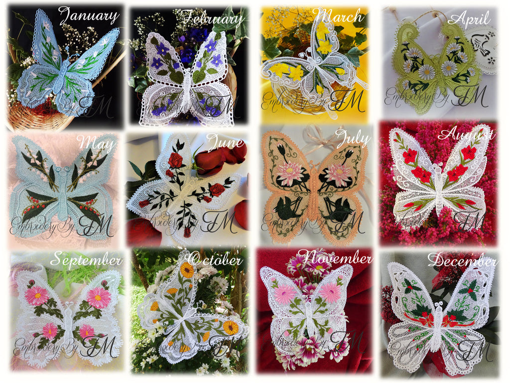 Big set of 12 large butterflies / 5x7 hoop