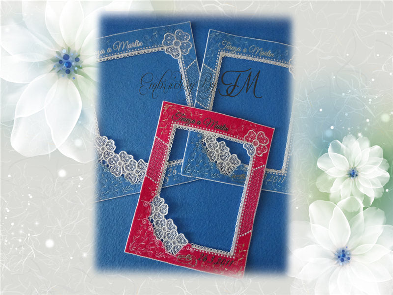 Frame on photo Wedding - Combination of felt and lace / Five sizes( for JEF - only 3 sizes)- The design is of course without the inscription