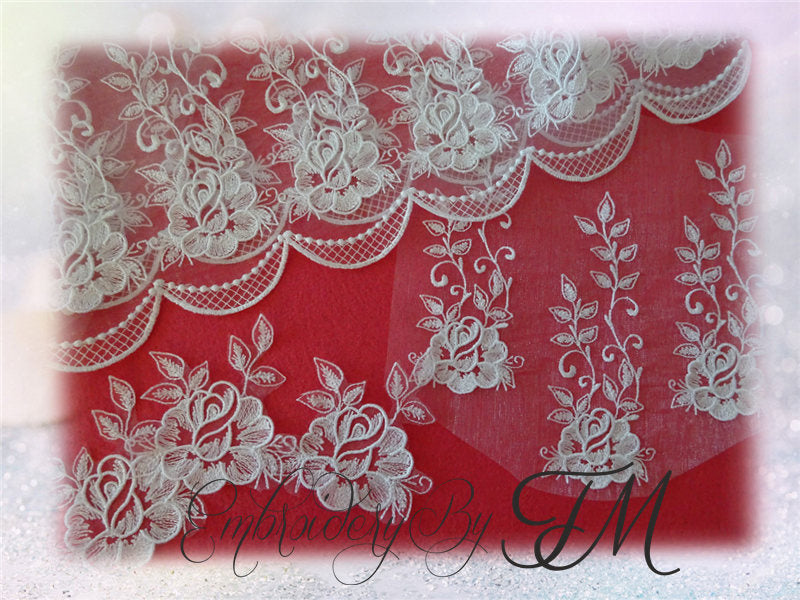 Big set - Design rose /5 variations of designs/Embroidery on organza/Caution - JEF format of different sizes and dimensions.