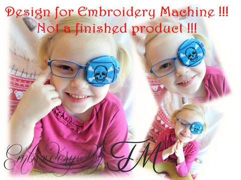 Eye patches for kids ( for  boy)-occluder with skull/ 4x4 hoop/machine embroidery design