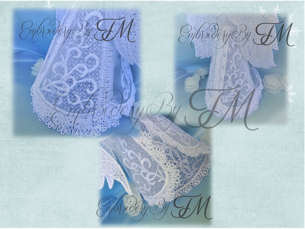 Angel 3D lace 2017 / The inscription on the ribbon is in five languages-English, French, Polish, German,Russian /5x7 hoop