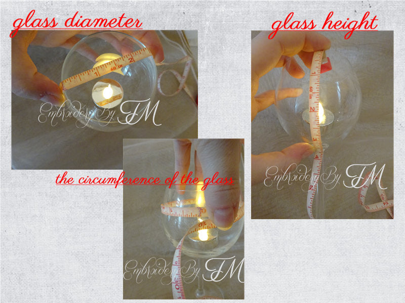 Wine glass shades for 4x4 hoop / lace and combination lace and mylar foil