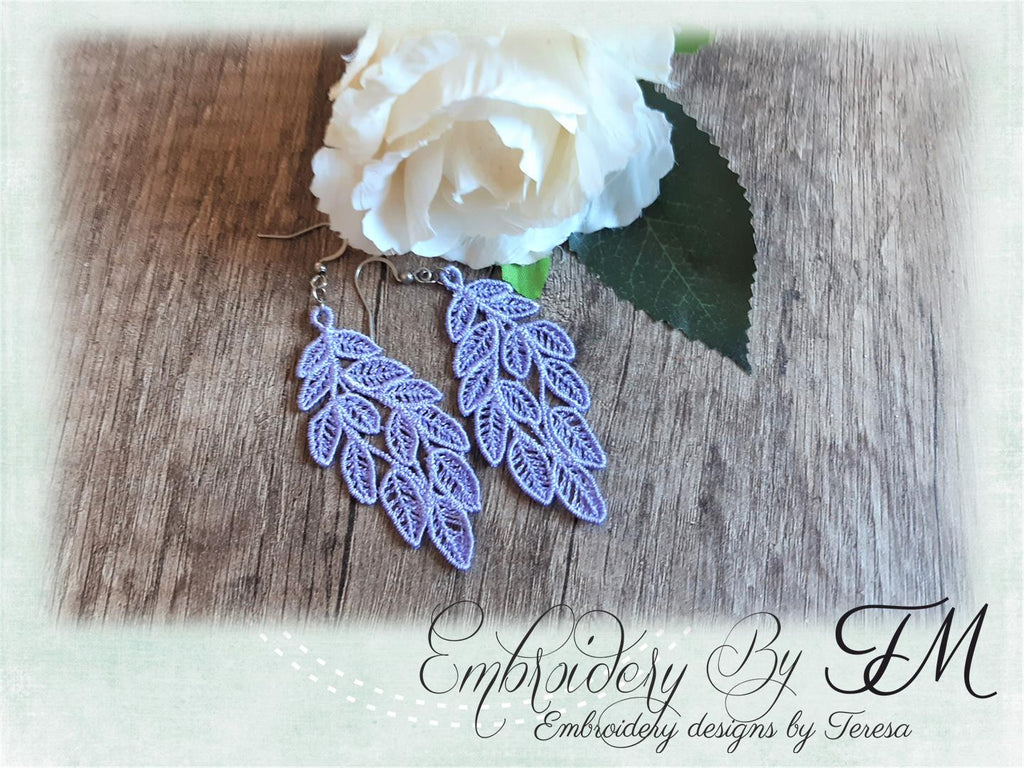 Large earrings with leaves FSL / 4x4 hoop