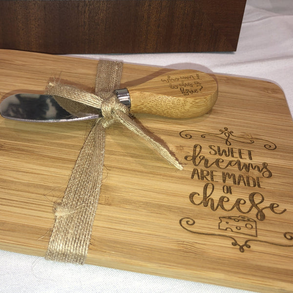 Small Engraved Cheese Board with Knife