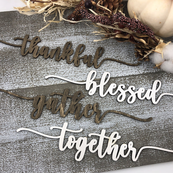 Holiday Table Word Wood Signs