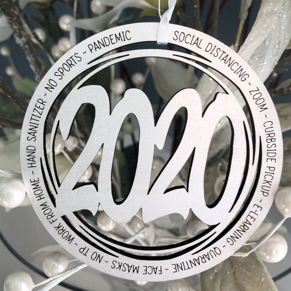 2020 Ornament with Zoom, No TP, E-Learning, Face Masks to Commemorate 2020