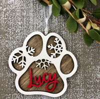 Dog Paw Print Personalized Ornament