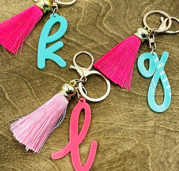 Initial Keychain with Tassel