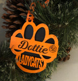 Ladycats Paw Print Personalized Ornament