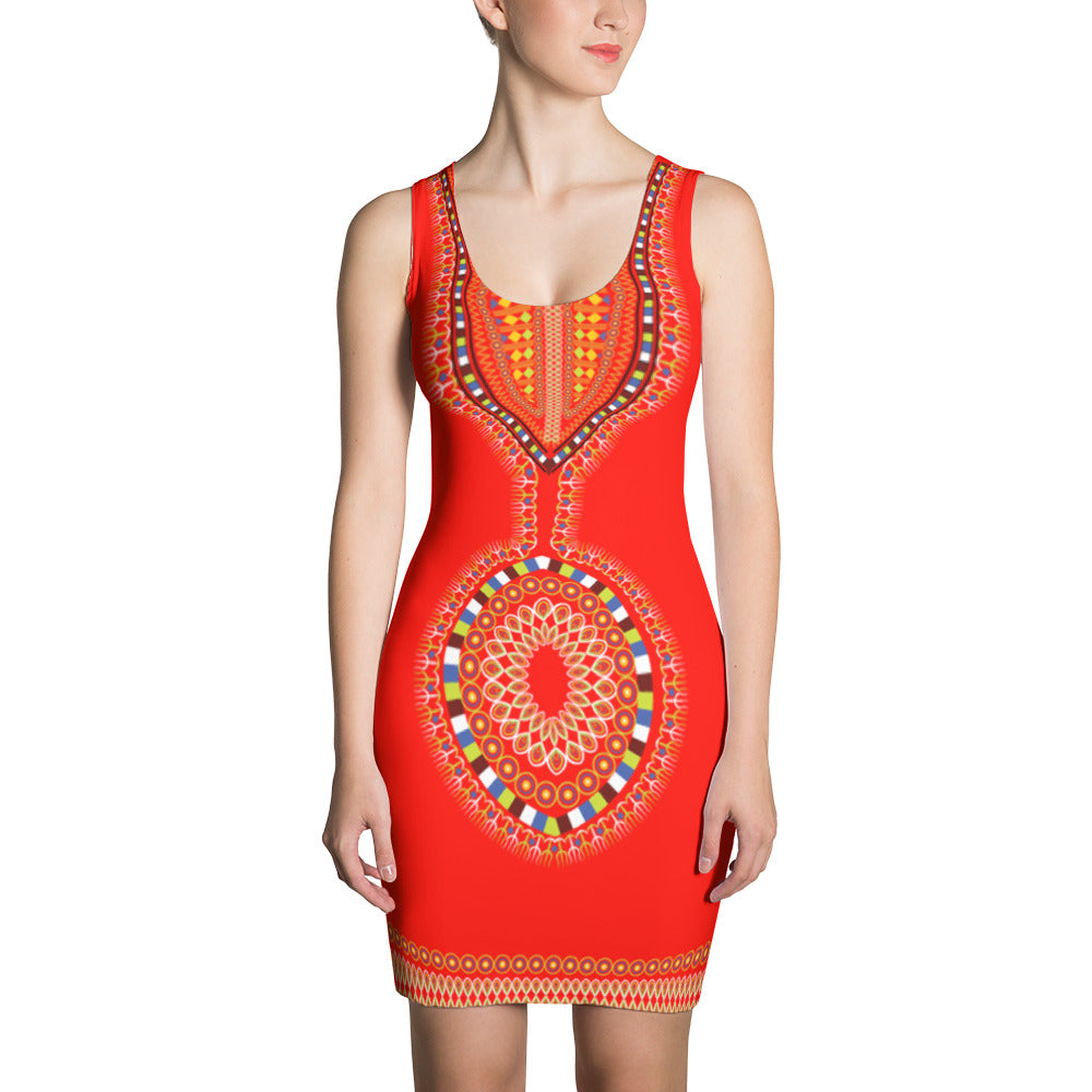 Red African Print Dress