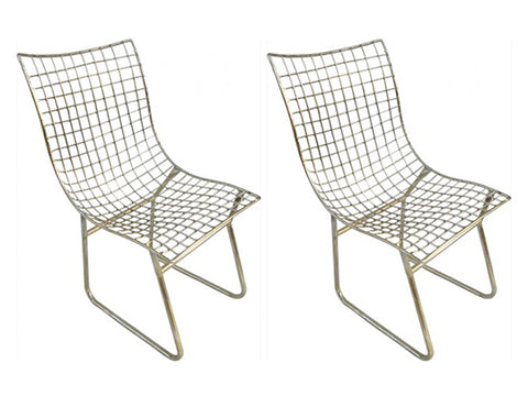Modern Industrial Metal Weave Chair