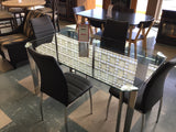 Glass Rectangle Table w/ 4 Chairs