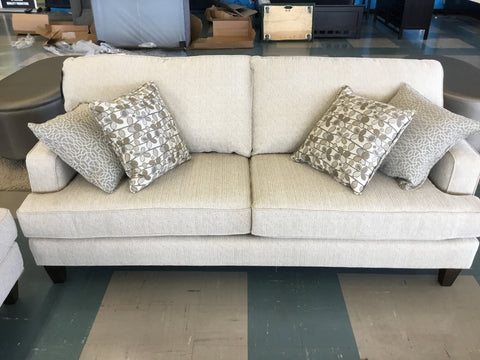 Jeffery Taupe Sofa w/Toss Cushion - 9671