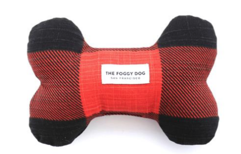 Red and Black Check Dog Toy