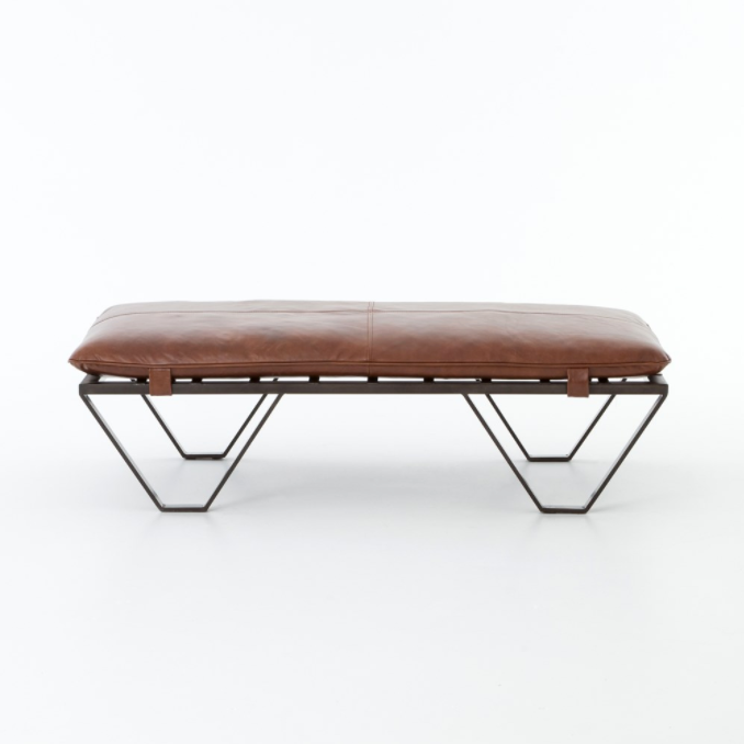 Leighton Leather and Iron Ottoman