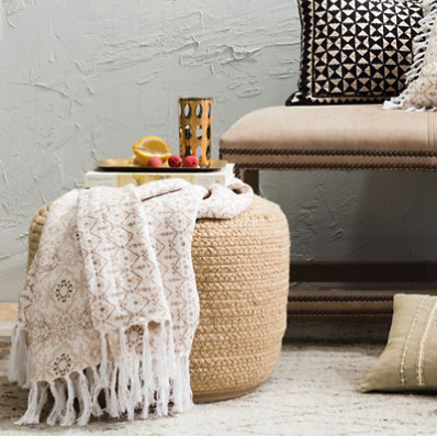 Natural Braided Indoor/Outdoor Pouf