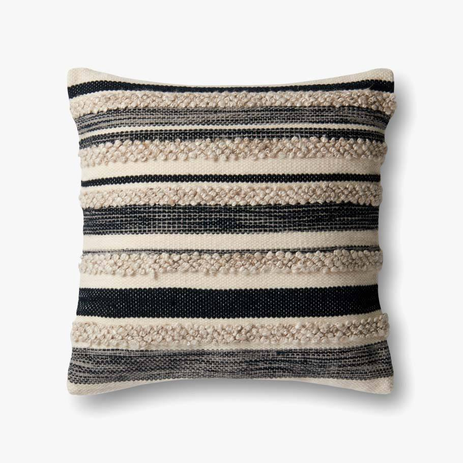 Textured Charcoal Stripe Pillow