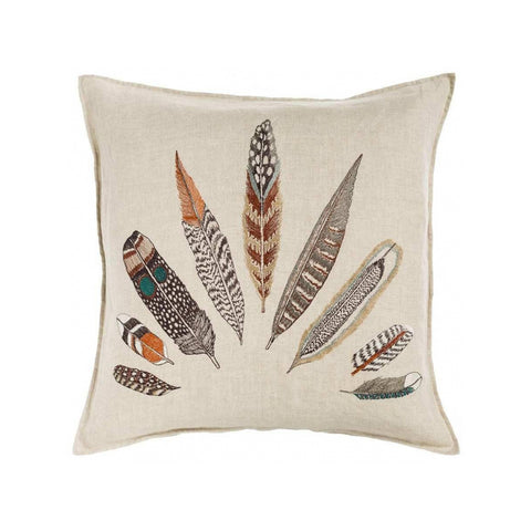 Embroidered Plumes Pillow