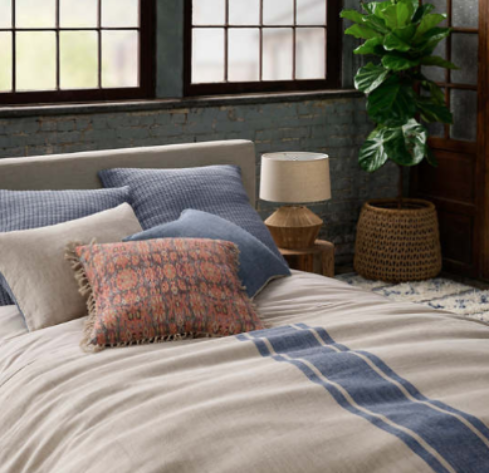 Denim Stripe Linen Duvet Cover