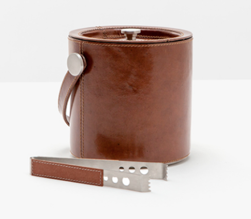 Leather Ice Bucket and Tongs Set