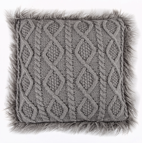 Nordic Faux Fur Knit Pillows
