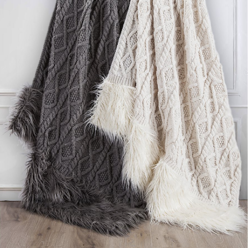 Nordic Faux Fur Knit Throws