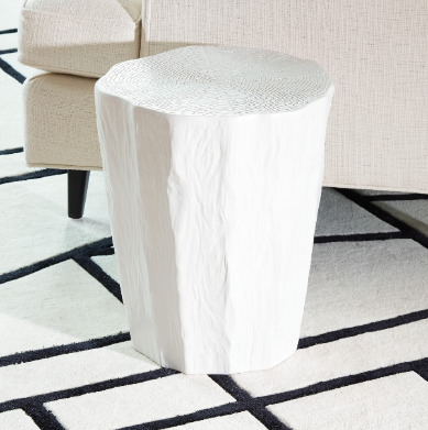 Faux Bois Log Stool - White