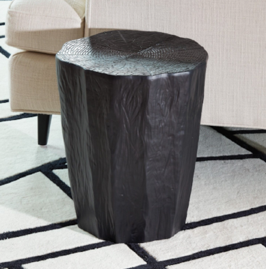 Faux Bois Log Stool - Black