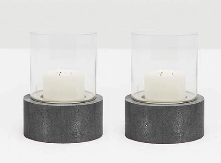 Faux Shagreen Hurricane Lanterns - Set of 2