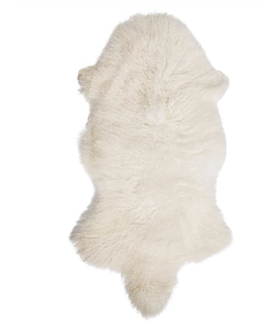 Natural Mongolian Lamb Fur Rug