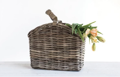 Rattan Basket with Leather Strap