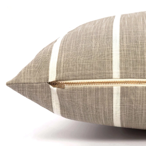 Farmhouse Stripe Dog Bed - Taupe